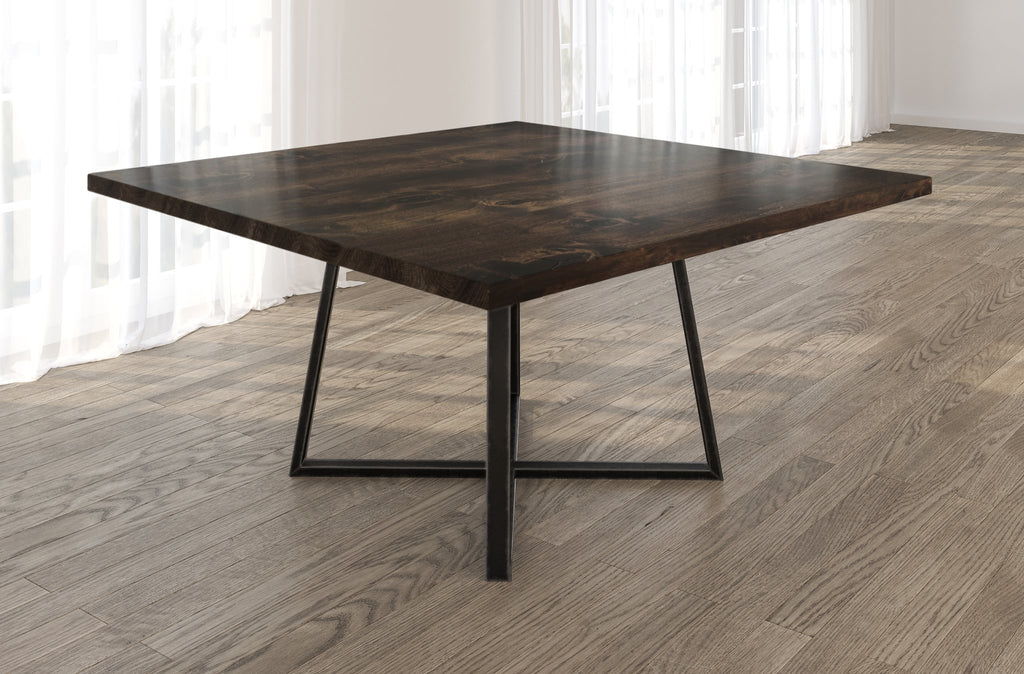 Square Watson Industrial Steel Pedestal Table with Filled Knots in Tobacco finish.