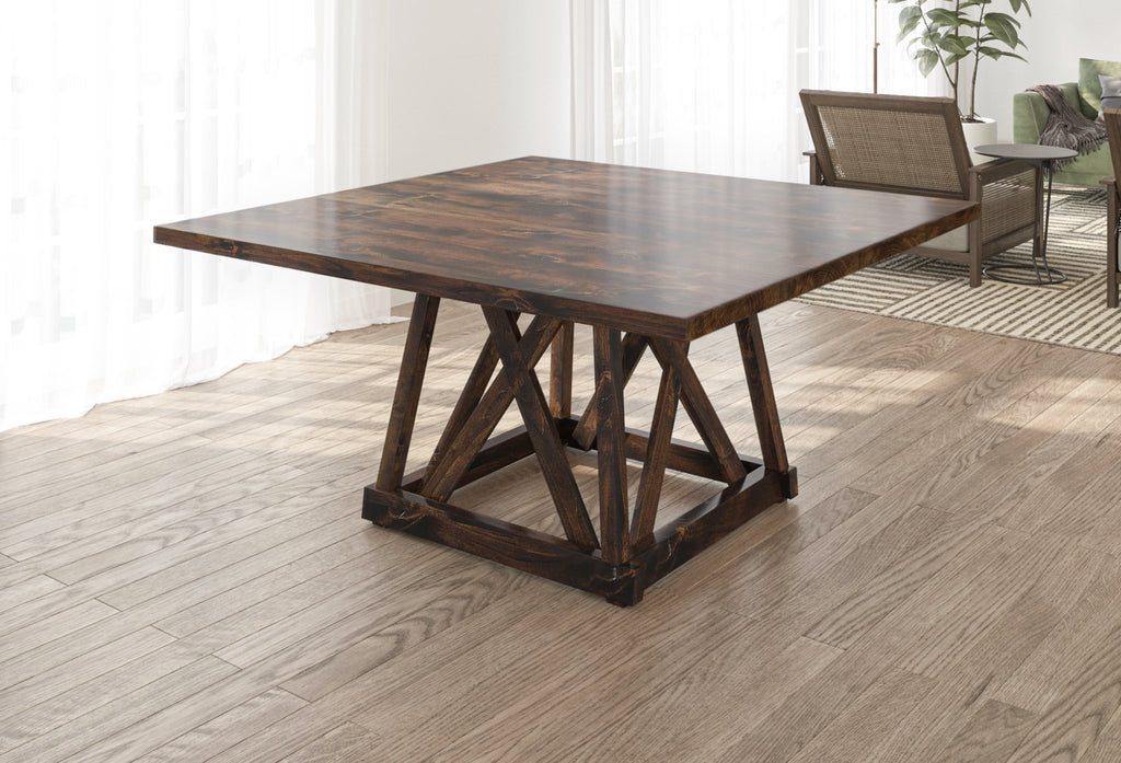 Julia Square Dining Table with Filled Knots in Tobacco Finish