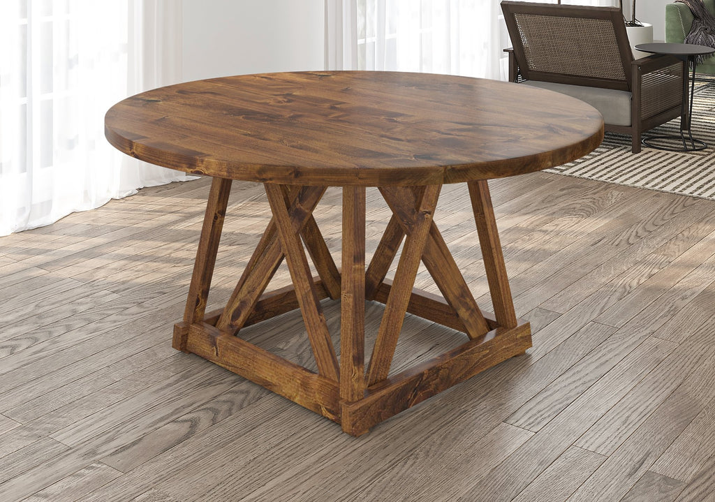 Julia Round Dining Table with filled top knots in Tuscany finish