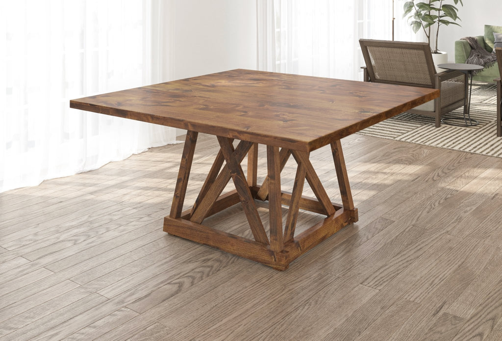 Julia Square Dining Table with Filled Knots in Tuscany Finish