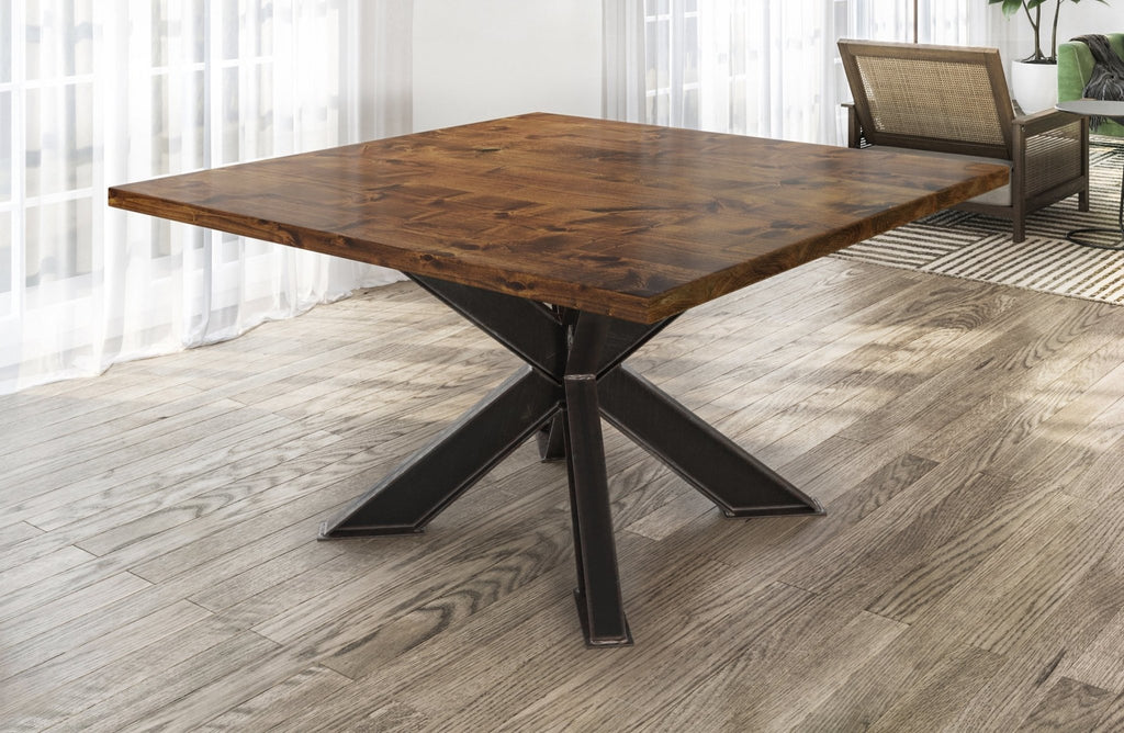 Square Shiloh Industrial Pedestal Table in Tuscany Finish