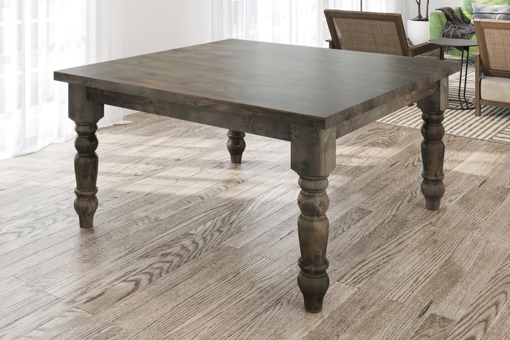 "60"" square Baluster Table with Deep Grey finish. Knots on top filled, jointed/smooth top."
