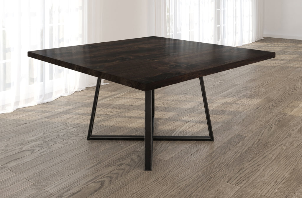 Square Watson Industrial Steel Pedestal Table with Filled Knots in Charred Ember finish