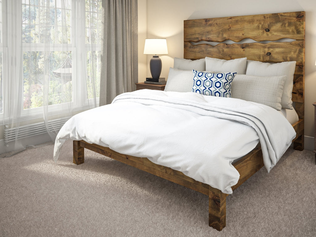 Queen size Live Edge Bed in Harvest Wheat Finish