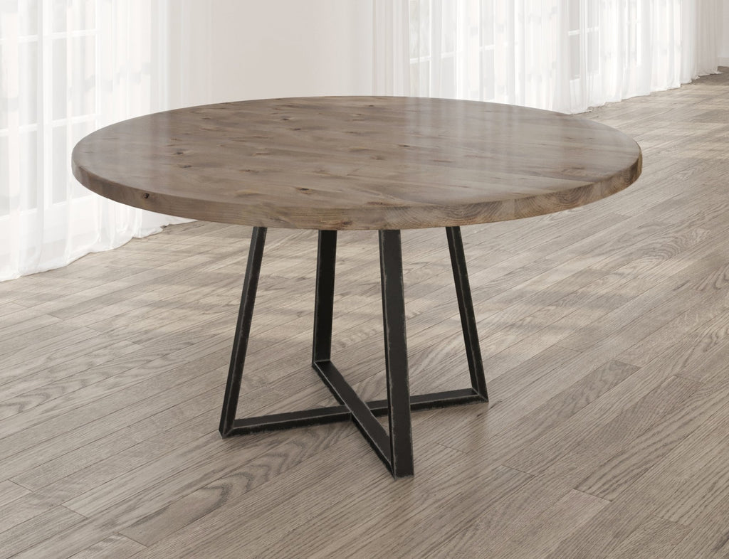 Round Watson Industrial Steel Pedestal Table with filled table top knots in Barn Wood finish