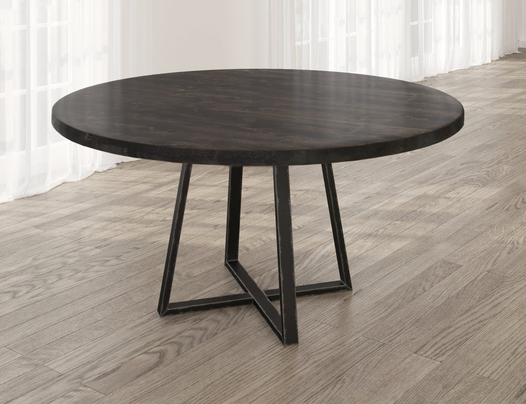 Round Watson Industrial Steel Pedestal Table with filled table top knots in Charred Ember finish