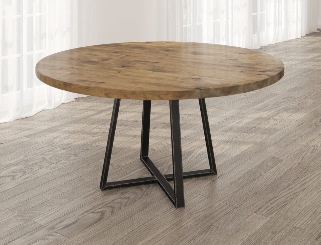 Round Watson Industrial Steel Pedestal Table with filled table top knots in Harvest Wheat finish