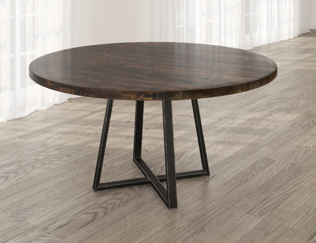 Round Watson Industrial Steel Pedestal Table with filled table top knots in Tobacco finish