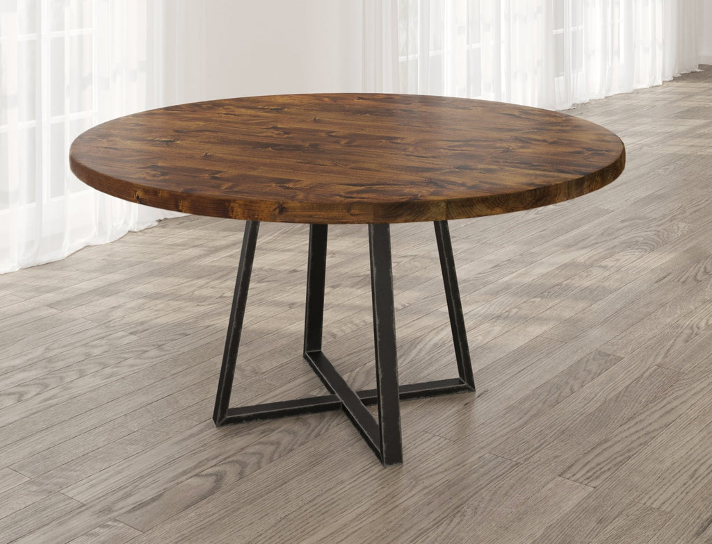 Round Watson Industrial Steel Pedestal Table with filled table top knots in Tuscany finish