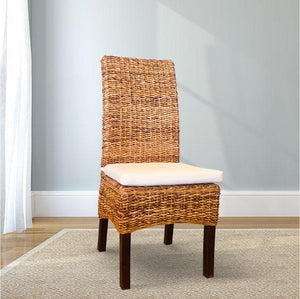 Natural Banana Leaf Dining Chair with White Cushion