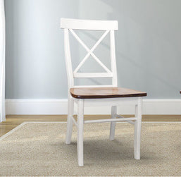 X-Back Wood Dining Chair painted Ivory with a Tobacco Finish seat