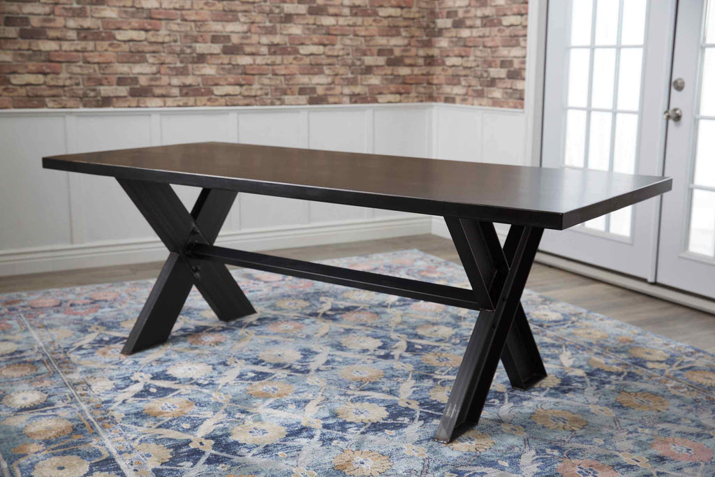 "7' x 37"" Industrial Steel X-Base Table in Charred Ember Finish"