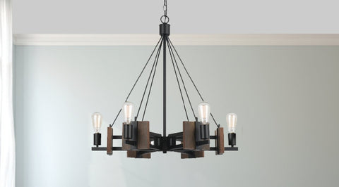Contemporary Wood and Dark Bronze Chandelier