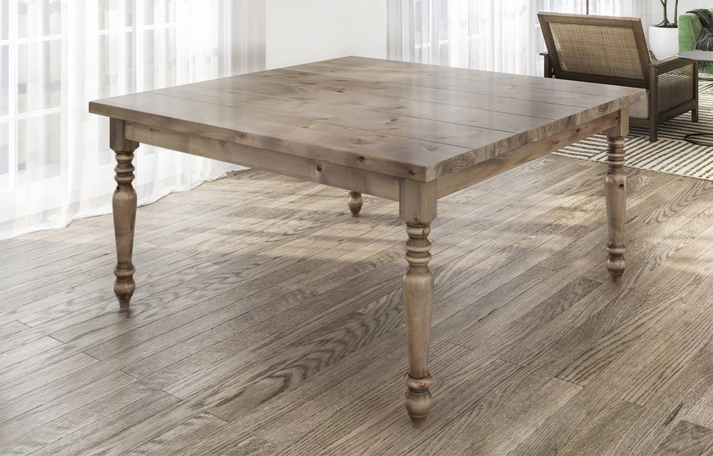 "60"" Square Country French table in Barn Wood Finish. Filled top knots and boarded/grooved look."