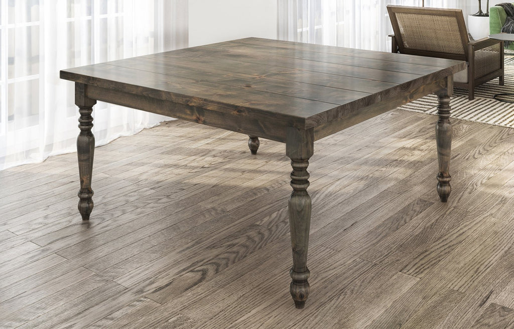 "60"" Square Country French table in Deep Grey Finish. Filled top knots and boarded/grooved look."