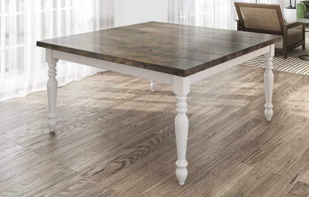 "60"" Square Country French Table with Deep Grey Finish top and Ivory painted base. Filled top knots and boarded/grooved look."