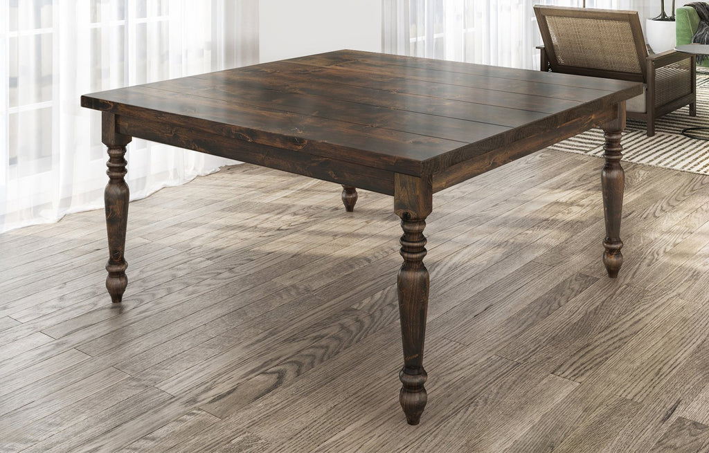 "60"" Square Country French table in Tobacco Finish. Filled top knots and boarded/grooved look."