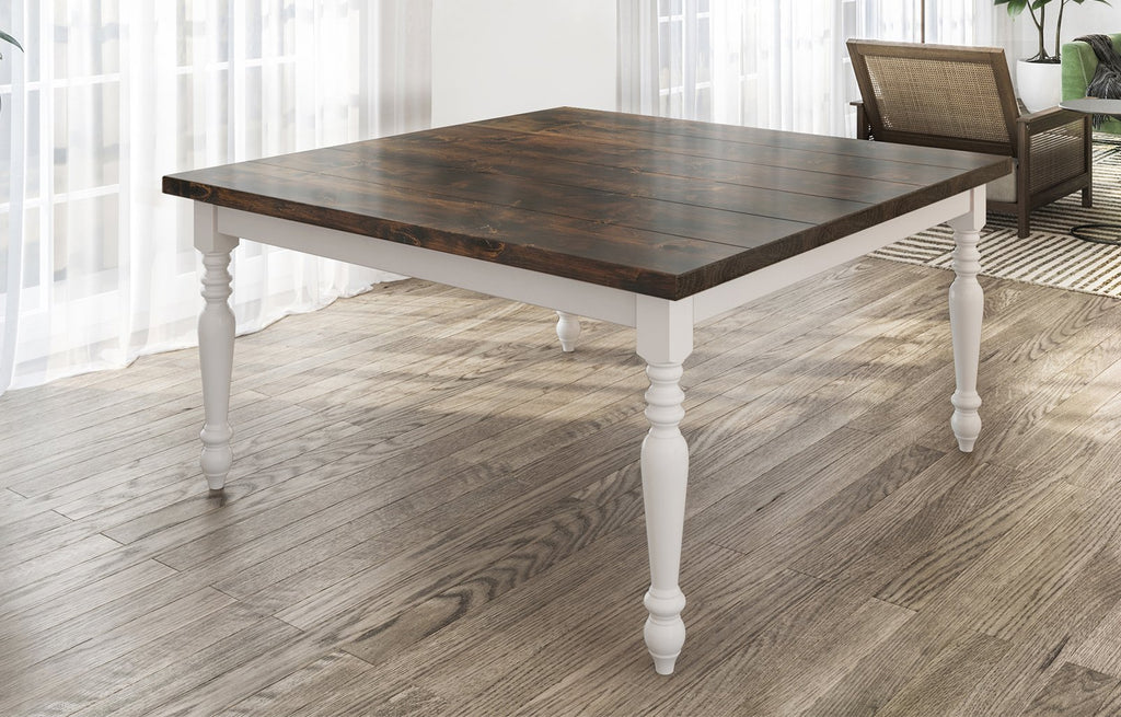 "60"" Square Country French Table with Tobacco Finish top and Ivory painted base. Filled top knots and boarded/grooved look."