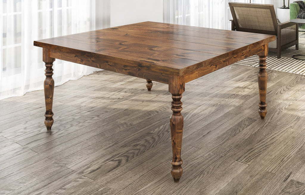 "60"" Square Country French Table in Tuscany finish. Filled top knots and boarded/grooved look."