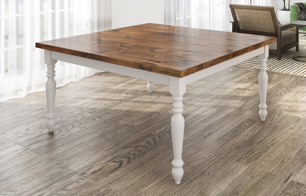"60"" Square Country French Table with Tuscany Finish top and Ivory painted base. Filled top knots and boarded/grooved look."