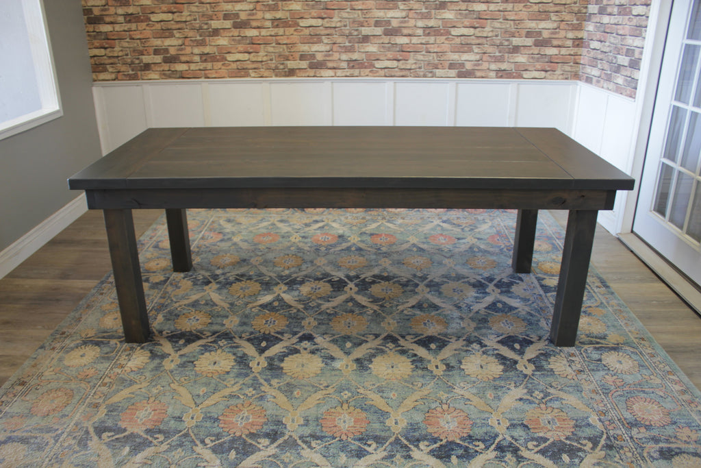 Farmhouse Table - Hardwood in Deep Grey Finish with Boarded Look - Grooved top and Endcaps