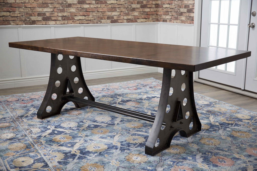 "7' x 37"" Amelia Industrial Table in Tobacco Finish."