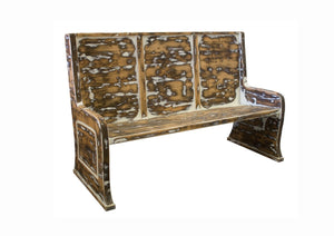 5' L Rustic Distressed Parish Pew Bench.