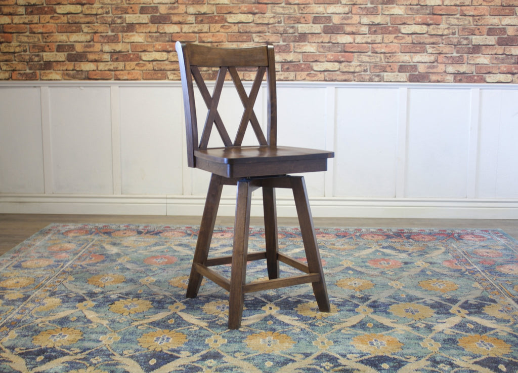 Double X-Back Swivel Stool