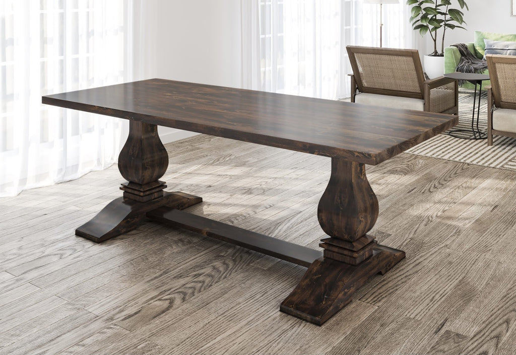 "7' x 37"" Heirloom Pedestal Table in Tobacco Finish with table top knots filled."