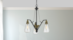 Three Bulb Glass, Brass, and Metal Pendant Chandelier