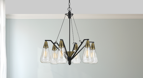 Six Bulb Glass, Brass, and Metal Pendant Chandelier