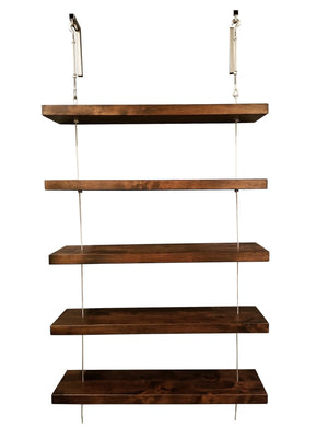 Floating Turnbuckle Shelves in Tobacco Finish.
