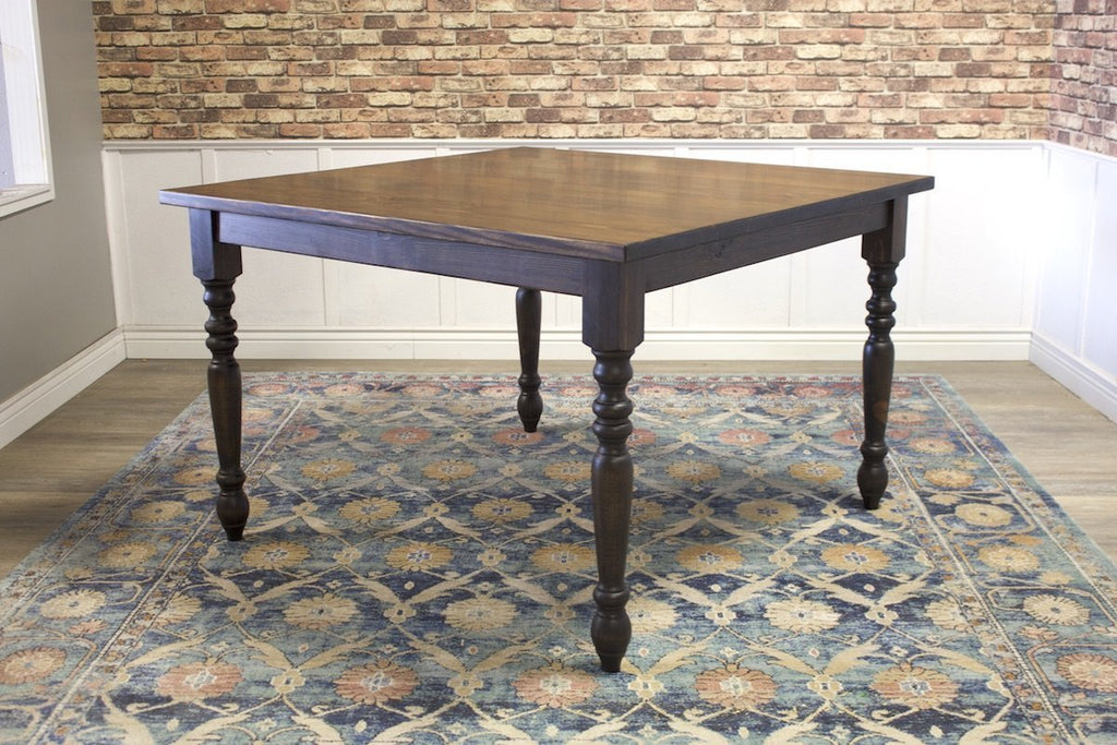 "55"" x 55"" x 36"" T Square Country French Turned Leg Table with Jointed Top Style in Tobacco Finish and filled top knots."