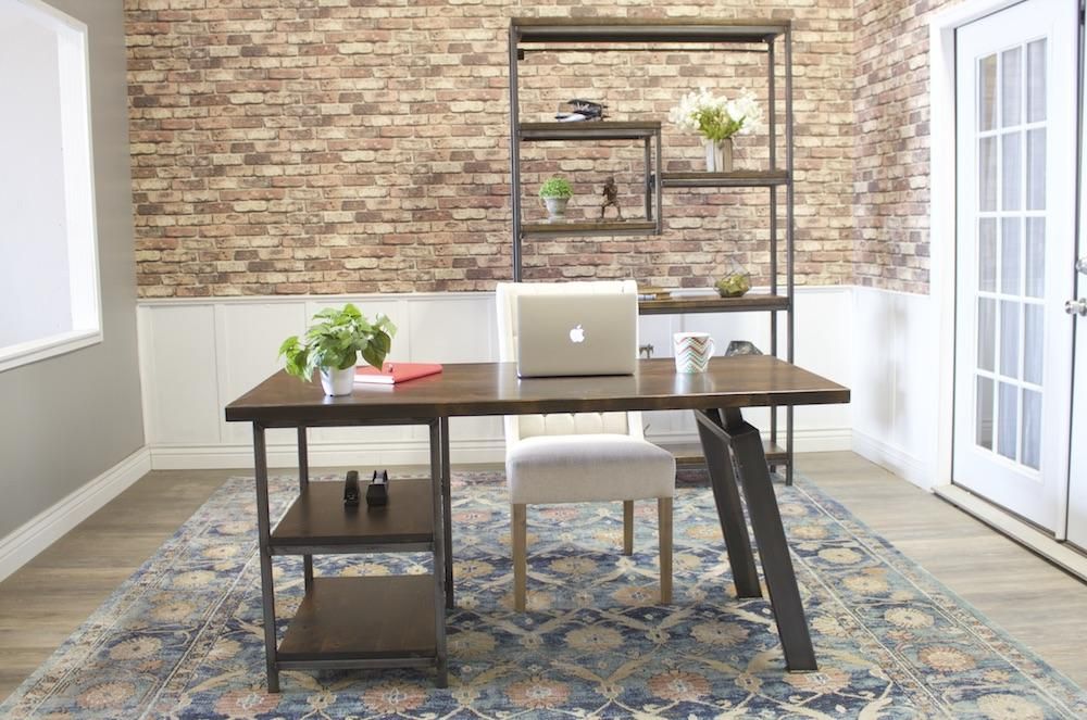 Steel and Solid Hardwood Arlo Shelving Unit pictured with a Fulton Desk.