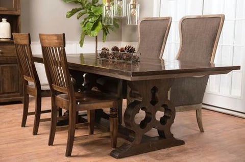"7' x 45"" Grand Carved Pedestal Table, Top Style - Boarded Look with End-Caps, and a custom finish. Pictured with our Charlotte Wood Chairs and our Bentwood Upholstered Arm Chair."