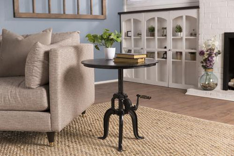 Metal Hand Crank End Table