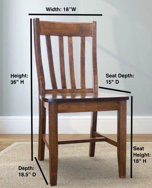 "Dining Chair Overall Dimensions: approx. 18"" W x 18.5"" D x 36"" H Seat Dimensions approx. 18"" W x 15"" D x 18"" H."