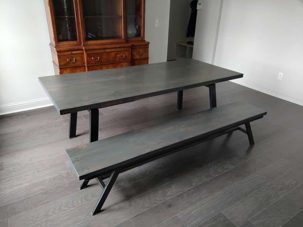 "7' Deep Grey Finish, Knots Filled, Fulton Modern Industrial Bench. Also featured 7' X 37"" Deep Grey Finish, Knots Filled Fulton Modern Industrial Table"