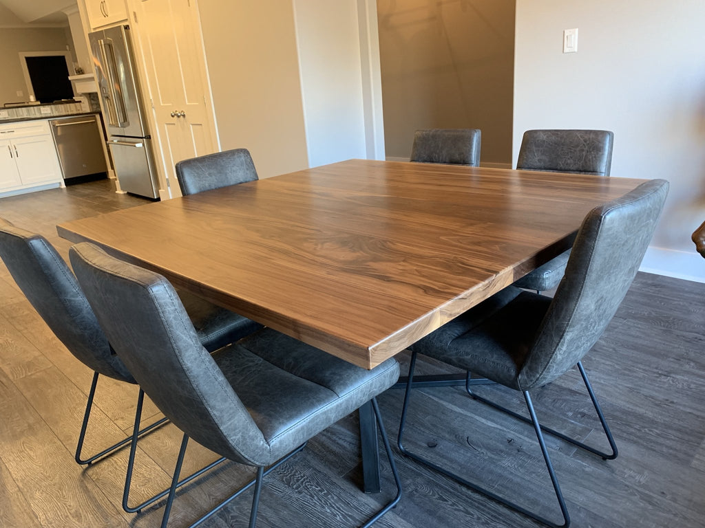 "60"" x 60"" Square Watson Industrial Steel Pedestal Table featuring a Custom top built with Black Walnut."