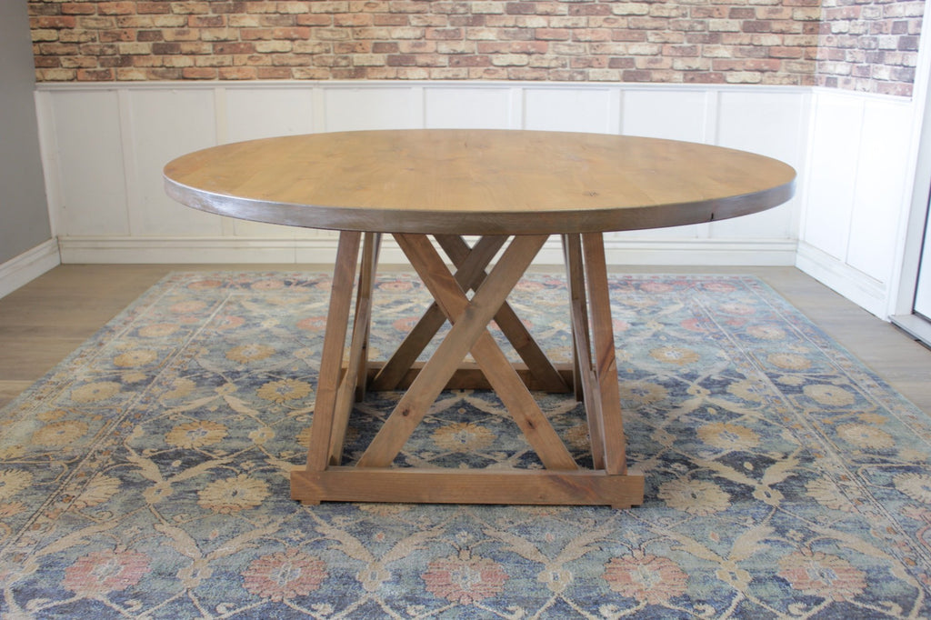 "60"" Julia Round Dining Table with Natural Open Knots in Harvest Wheat Finish"
