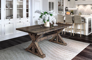 "7' L x 37"" W Trestle Table with a jointed top style that has filled top knots in Tobacco finish"