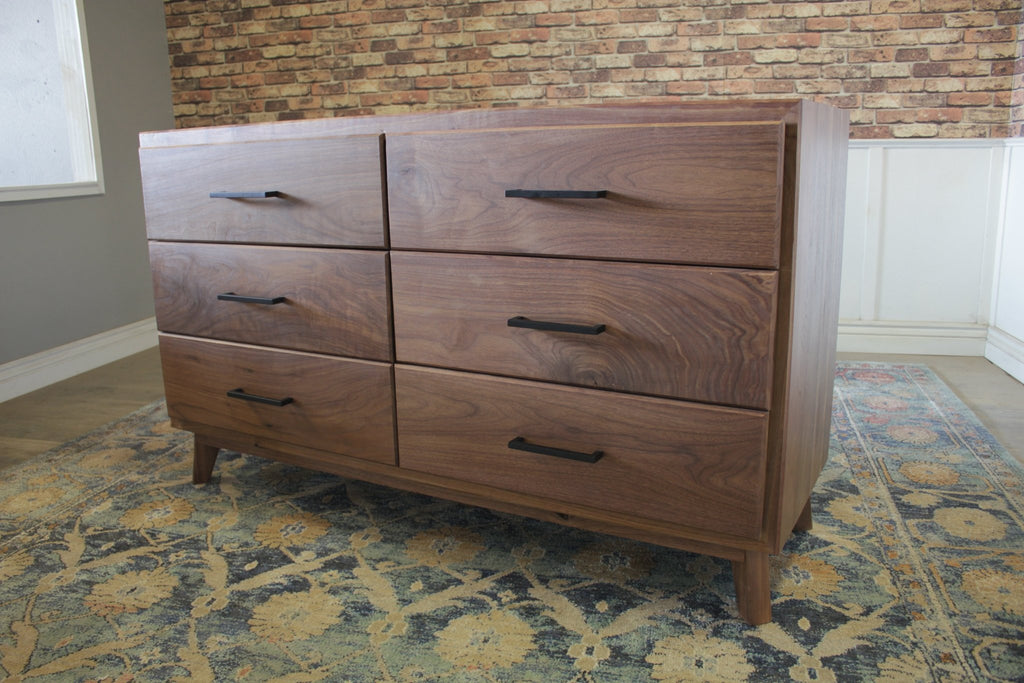 Black Walnut Harper Six Drawer Dresser in Satin Finish - No Stain