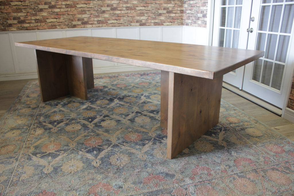 "9' L X 42"" W X 30"" T Willow T-Base Table in Harvest Wheat Finish with Top Knots Filled"