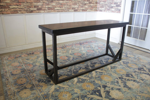 "5' L X 18"" D X 30"" T Emmalyn Sofa Table in Charred Ember Finish with natural open knots"