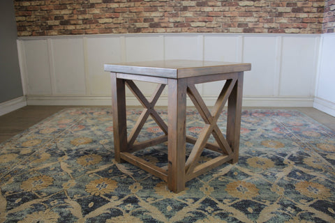 "24"" X 24"" X 24"" Carter X Style End Table in Harvest Wheat Finish with natural open knots"
