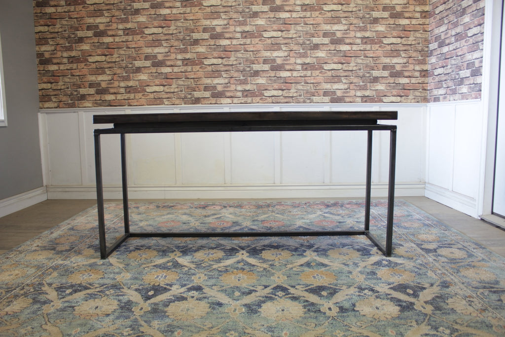 "60"" L X 18"" W X 30"" T Floating Top Steel Base Sofa Table In Tobacco Finish"