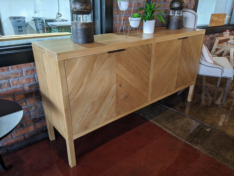 "70""L X 18""D X 36""T White Oak Buffet in Satin Finish / No Stain on White Oak with Natural Open Knots"