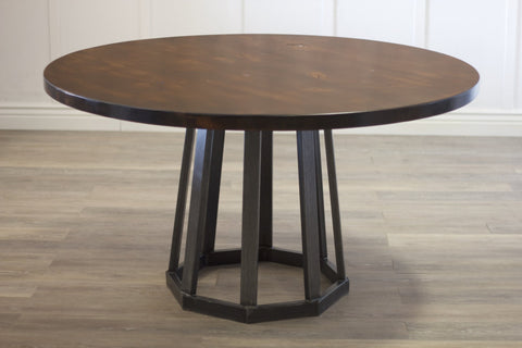 "Rustic Industrial Round Pedestal Table at 54"" Round in Tobacco Finish."
