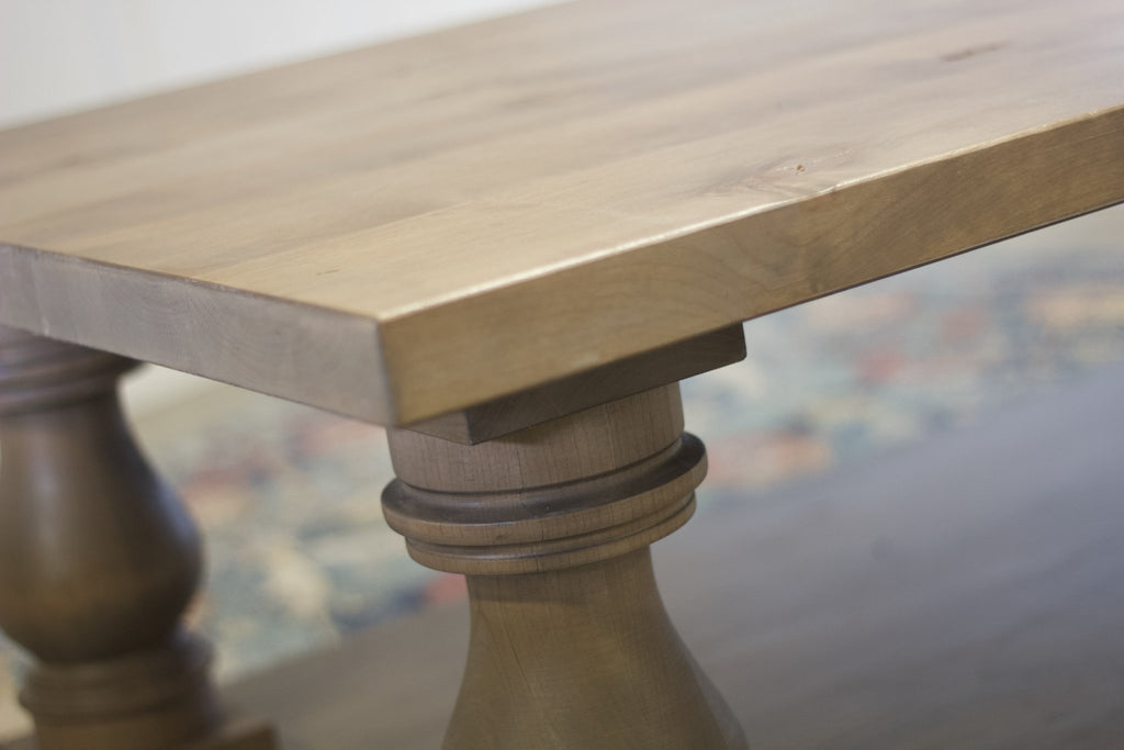 Vivien cocktail table details. Barn Wood Finish.