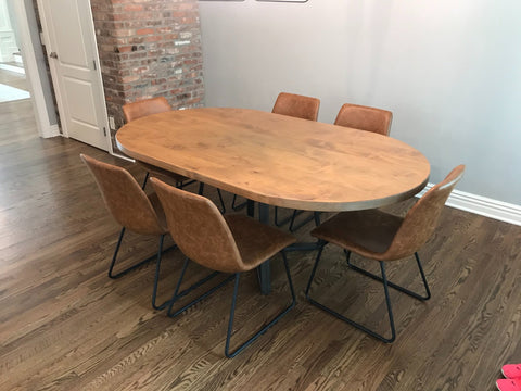 "Custom Oval 76"" L x 45"" W x 30"" T Industrial Steel Pedestal Table in Harvest Wheat Finish and Filled Knots"